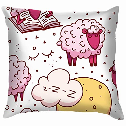 Cute Sheeps Concept Trying Animals Wildlife Alarm Clock Funny Square Throw Pillow Cases Cushion Cover for Bedroom Living Room Decorative 18X18 Inch