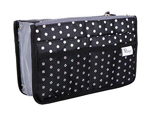 Periea - Organiseur de sac à main, 12 Compartiments - Chelsy (Noir/Blanc, Grand: H20 x L33.5 x P2-26cm)