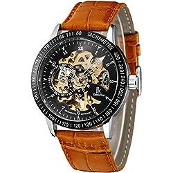 Alienwork IK Automatic Watch Self-winding Skeleton Mechanical Leather black brown 98226-21
