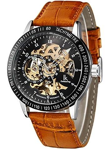 Alienwork IK mechanische Automatik Armbanduhr Skelett Automatikuhr Uhr schwarz braun