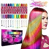 Buluri Haarkreide Non-Toxic 12 Farbe Natürliche Haare Kreide Stifte Temporäre Haarfarbe für Mädchen, Perfektes Geschenk für Karneval, Weihnachten & Geburtstag (Colorful Package)