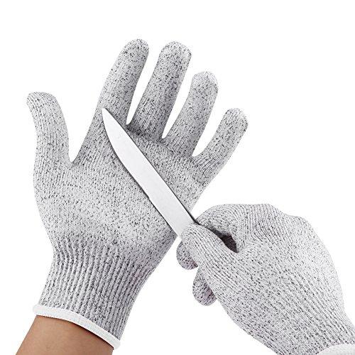 Protective Cut Resistant Handschuhe Elastic Stichfeste Küche Gardening Butcher Sicherheitshandschuhe 1 Paar(Silbergrau + Weiße Seite)