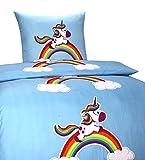 Leonado Vicenti 3 TLG. Bettwäsche 135x200 Kinder Einhorn Regenbogen Blau Bettbezug 80x80 Kissenbezug + Spannbettlaken 90x200