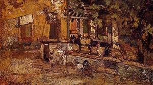 Huile sur toile - 32 x 18 inches / 81 x 46 CM - Adolphe Joseph Thomas Monticelli - Cour de ferme ...