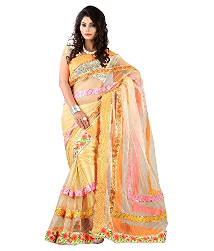 Yuvati Sarees Border Work Saree (9065_Gold)
