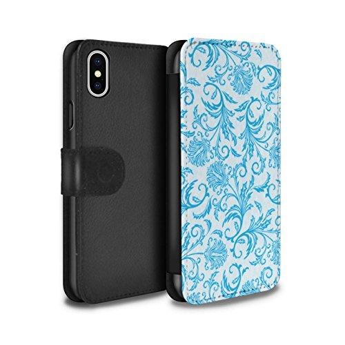 Stuff4 Coque/Etui/Housse Cuir PU Case/Cover pour Apple iPhone X/10 / Fleurs Vertes Design / Fleurs Collection Fleurs Bleues