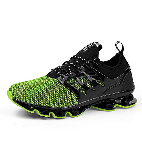 WateLves Herren Laufschuhe Fitness straßenlaufschuhe Sneaker Sportschuhe atmungsaktiv Rutschfeste Mode Freizeitschuhe(Grün,42)