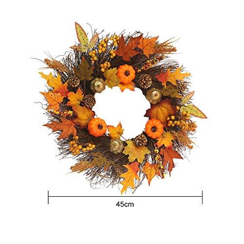 Ahornblatt Kranz Künstliche Kürbis Kranz Herbst Tür Kranz handgemachte dekorative Kranz Herbst Farben Tür Kranz für Outdoor-Display