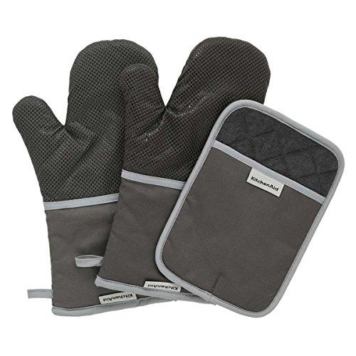 6 Qt-camp (KitchenAid 100% Baumwolle Schwere Ofen Handschuh 3er Set mit rutschfesten silikon Griff schwarz)