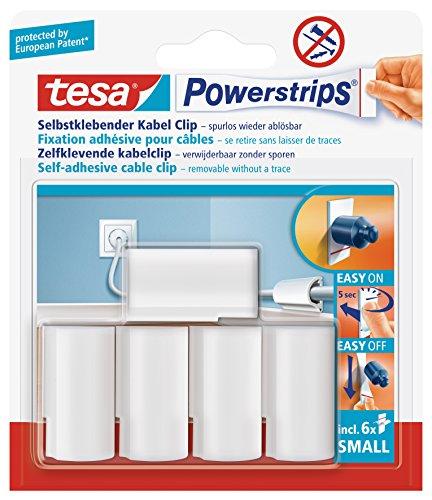 Tesa 58035-00016-00 Lot de 5 fixations pour câbles Powerstrips avec 6 petits autocollants double-face (Blanc) (Import Allemagne)