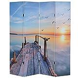 Mendler Foto-Paravent T234, Paravent Raumteiler Trennwand 180x160cm ~ Sonnenuntergang