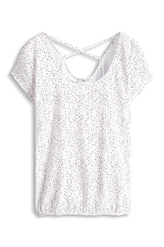 edc by Esprit 046cc1k024-Back Details, T-Shirt Femme Blanc - Blanc (100)