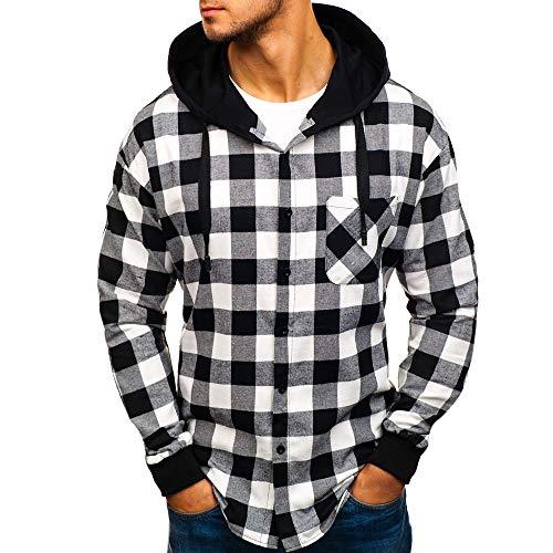 Cooljun Herren Langarm-Steppjacke mit Kapuze Männer Kapuzenpullover Tops Sweatshirt Herbst Winter Outwear Weihnachten Hoody Black Cat Fleece Jacket