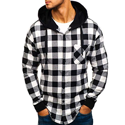 ODRD Hoodie Männer Sweatshirt Herbst Winter Pullover Kariertes Top Mit Kapuze Sweatshirt Outwear Bluse Sweatjacke Sweater Parka...