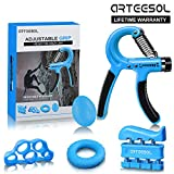 Arteesol Hand Trainingsgerät, Handtrainer Fingertrainer Set 5 (5-50kg) in 1 Unterarmtrainer Einstel (Blue)