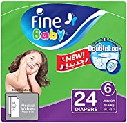 Fine Baby Diapers, DoubleLock Technology , Size 6, Junior 16kg +, Economy Pack. 24 diaper count