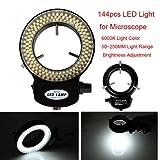 144 LED Mikroskop Ringlicht Ringleuchte 0-100% einstellbar Microscope Lampe für Stereomikroskop DE schwarz