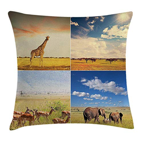 BUZRL Safari Throw Pillow Cushion Cover, African Safari Collage Lanscape with Native Animals Grassland Savannahs Mamals Photo, Decorative Square Accent Pillow Case, 18 X 18 inches, Multicolor