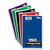 Tops 3-subject Wirebound Notebook, College Rule, 6X 9.5inches, White, 150Sheets Per Book, couleur Cover May Vary (65362)