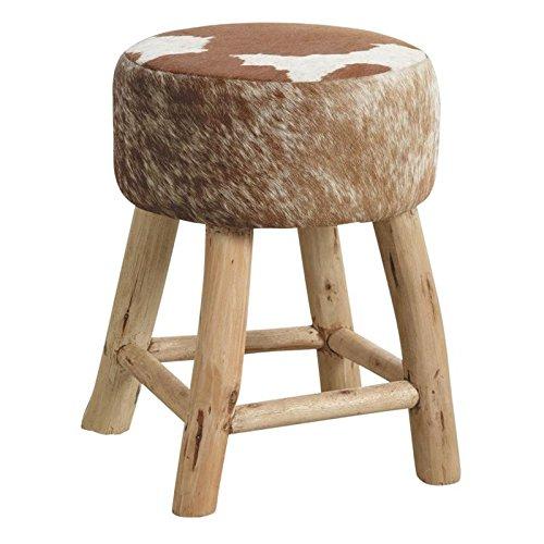 Inconnu Hocker rund aus Holz und Haut-Kuh