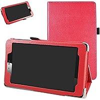 """vodafone smart tab mini 7 / ALCATEL pixi 4 7 Funda,Mama Mouth Slim PU Cuero Con Soporte Funda Caso Case para 7"""" vodafone smart tab mini 7 / ALCATEL pixi 4 7 Android Tablet 2016,Rojo"""