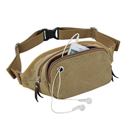 FakeFace Outdoor Fashion Unisex Leichte 3 Taschen Multicolor Reisen Leinwand Hüfttaschen kaffeebraun