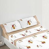 Burrito Blanco Juego de sábanas 684 para cama individual de 120x190 cm hasta 120x200 cm con estampado de flores, color caldera