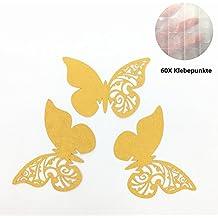 ElecMotive 50 Piezas Tarjeta de Copa Lugar Forma Mariposa Decoración para Fiesta Boda Pegatinas de Pared Oro