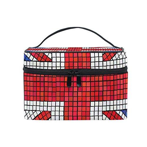 coosun UK Flagge Union Jack Mosaik Kosmetiktasche Leinwand Reise Kulturbeutel Top Griff Single Layer Kosmetiktasche Organizer Multifunktions-Kosmetiktasche für Frauen