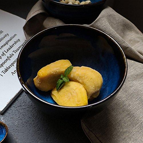 Bao Xing Bei Firm Kreative keramische Geschirrschüssel/Salatschüssel/Hauptreisschüssel/Suppenschüssel rollen (Color : Blue, Size : 14.3*9cm)