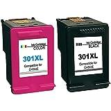 Cartuchos de tinta compatibles con reemplazo para HP 301XL para DeskJet 1000, 1050, 1050A, 1050S, 1055, 2000, 2050, 2050A, 2050S, 2050SE, 2054A, 2510, 2540, 3000, 3010, 3050, 3050A, 3050S, 3050SE, 3050VE, 3052A, 3054A, 3055A