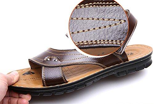 LOBTY Herren Sandalen Zehentrenner Bio Clogs Pantoletten Slipper Zehentrenner Flats Sommer Schuhe Gr.38-44 Braun