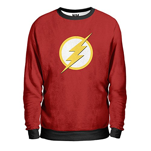 FLASH DC Comics Sweatshirt Man - Felpa Uomo - Comics, T-Shirt Serie TV Fumetti Film Supereroi Universo DC