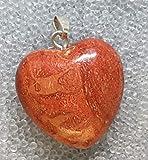 KRIO® - Wurzelkoralle imprägniert Herz als Anhänger mit silberfarbener Öse, elegante bauchige Form