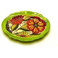 VASSOIO OVALE in ceramica fatto e dipinto a mano con decorazione flor 18,5 cm x 14 cm 18,5 cm x 14 cm (VERDE)