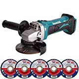 Makita DGA452Z 18V LXT Cordless Angle Grinder with 5 x 115mm Grinding Metal Cutting Disc