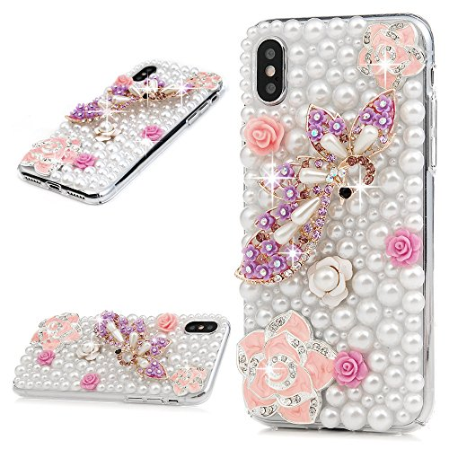 Crystal Bling Case (GOHIGH Kompatible mit iPhone X/iPhone XS Hülle Transparent Hart-PC Case mit 3D Design Ultra Slim Fit Crystal Glizer Bling Diamant Rhinestone Handyhülle Schutzhülle Für iPhone X/iPhone XS-Perle)