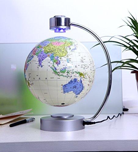 E-Plaza 8-Pollice Innovativo Retro Magnetico Levitazione Fluttuante Globo per Casa Ufficio Decorazione (Bianco)
