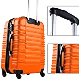 Vojagor Trolley Suitcase (Choice of Colors and Sizes) 4 Castor Wheels Bump Resistant ABS Hardshell Luggage with Telescopic Handle and Push Button (Orange, M)