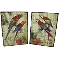 Set di 2 pappagallo tropicale Welcome/Paradise 'metal Wall Signs - Parrot Wall Plaque