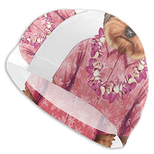 GUUi Swimming Cap Elastic Swimming Hat Diving Caps,Portrait of A Dog In Humanoid Form with A Pink Shirt with Hawaian Lei Fun Image,for Men Women Youths (Cap Ear Dog)