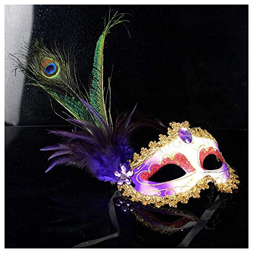 YaPin Halloween Venedig Premium Seite Pfau Ball Dance Maske Weibliche Erwachsene Feder Maske Kostüm Party Requisiten (Color : Purple)
