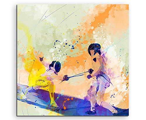 Fechten II 60x60cm Wandbild SPORTBILD Aquarell Art tolle Farben von Paul Sinus