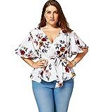 YTJH Dame Übergröße Bluse V-Ausschnitt Langarm Pastoralen Stil Gedruckt Blumen mit Gürtel Freizeitkleidung