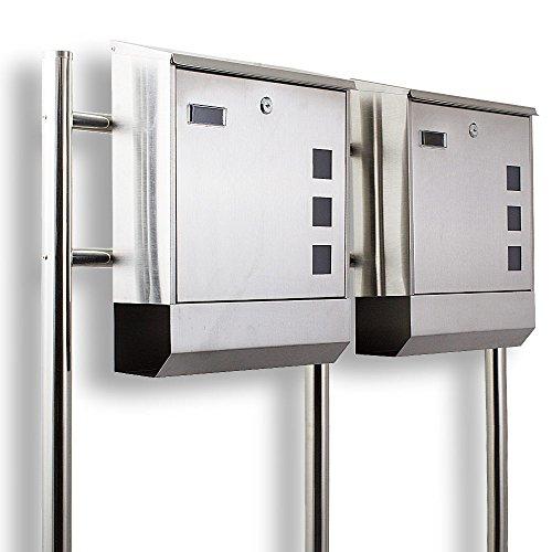 Design Edelstahl hochwertiger Doppelbriefkasten mit Zeitungfach Briefkastenanlage Briefkasten Doppelstandbriefkasten Eckig