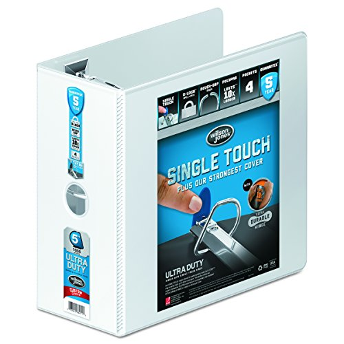 Wilson Jones Single Touch Locking D-Ring View Binder, 12,7 cm, 21,6 x 27,9 cm Blatt, Premium, 866 Serie, anpassbar, Weiß - Professional Wilson Binder Jones