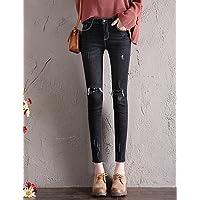 TT&NIUZAIKU Mujer Casual Tiro Medio Microelástico Ajustado Pantalones, Un Color Algodón Otoño, Black, 27