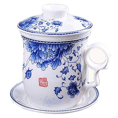 Azul pintado a mano de la flor y negro porcelana taza de té con tapa y platillo