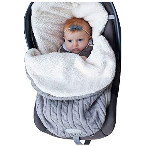 Newborn-Baby-Swaddle-Blanket-Wrap-Thick-Baby-Kids-Toddler-Knit-Soft-Warm-Fleece-Blanket-Swaddle-Sleeping-Bag-Sleep-Sack-Stroller-Unisex-Wrap-for-0-12-Month-Baby-Boys-Girls-Grey