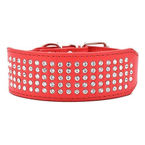 Mochow-Pet Hundehalsband 5 cm Breit Für Große Hunde Aus PU Leder Mit Bling Leuchtend Strass Einstellbar Rot Größe L - Leuchtend Rotes Leder